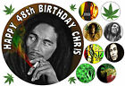 EDIBLE ICING BOB MARLEY JAMAICAN REGGAE BIRTHDAY NAME AGE CAKE CUPCAKE TOPPERS