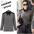 Women Vintage Slim Long Sleeve Knitted Tops Cotton Shirt Pullover Blouse