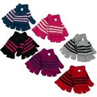 Boys Girls Kids Thermal Wool Blend One Size Fingerless Gloves Mittens With Cap