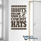 Boots, Chaps And Cowboy Hats Vinyl Wall Decal home western country sticker L084