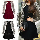 Women Floral Embroidered Lace Sleeves Stretch Round Neckline Pleated Skirt Dress