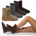 Women Faux Suede Round Toe Stud Spikes Winter Ankle Bootie Flat Boot Shoe US5-10