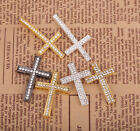 4pcs Clear Crystal Rhinestone Paved Zinc Alloy Metal Cross Connectors Charms