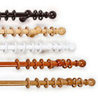 REAL WOOD FX CURTAIN POLES - WOODEN 28MM RINGS HOLDBACKS AND BRACKETS
