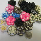 20pcs Lovely Polymer Clay Flower Button Beads in 10 Colours 24mm UK Seller