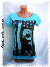 Shirt Top Stars & Stripes Flagge Nieten Foto Aqua Gr.  L XL   40 42