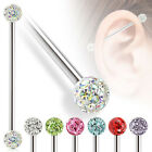 1pc Steel Industrial Barbell with Clear Epoxy Coated Ferido Multi-Crystal Balls