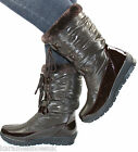 NEW WOMENS LADIES BROWN SKI WINTER SNOW MOON FUR FLAT ANKLE BOOTS SIZE 3 - 8 asp