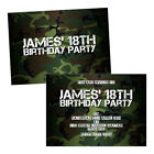 Personalised birthday party invitations CAMOUFLAGE MILITARY ARMY FREE ENVELOPES