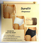 3 PACK Seamless Surefit Control Briefs Knickers Black Tan AND White Elastane