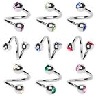 16G twist belly ring navel horseshoe eyebrow ear spiral gemmed balls