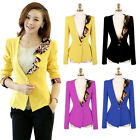 Women Slim Retro Flower Prints Ruffle Collar Blazer Jacket Thickened Cuff Suit