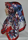 RED FLORAL LIGHT SILK SQUARE 37X37 OBLONG SCARF/HIJAB/TURBAN/SHAWL/WRAP MUSLIM