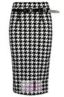WOMENS DOG TOOTH BELTED STRETCH BODYCON KNEE HOUND TOOTH PENCIL OFFICE SKIRT