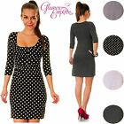 Polka Dots Jersey Pleated Tunic 3/4 Sleeve Mini Dress UK 6-20 24h Dispatch 016