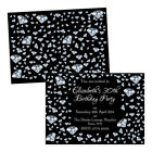 Personalised birthday party invitations SILVER BLACK DIAMONDS FREE ENVELOPES & D