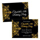 Personalised birthday party invitations GOLD FLORAL ORNATE FREE ENVELOPES & DRAF