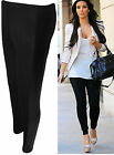 Women Leggings Black Wet Look Shiny Side Panel Stretch Long Size 4-10 New