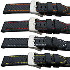 Super Quality Leather Carbon Fibre Grain Sport Watch Strap 20,22,24mm Free P&P