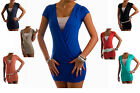Women's Sexy Stretch Summer Tunic Top Short Mini Dress Two Tone Plunge NEXT DAY