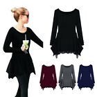 New Women Scoop Neck Long Sleeve Pullover Jumper Asymmetry Pleated Slim Sweater