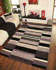 Black Grey Modern Thick Soft Handmade Indian Wool Small Large Checked Carved Rug