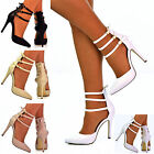 Ladies Plain Pointed Toe Multiple Ankle Straps Mid High Heel Sandal Shoes Size