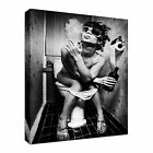 Smoking Girl Toilet black and white Canvas Wall Art Print Large + Any Size