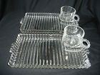 Depression Glass Clear Serving Tray With Coffee Tea Cup