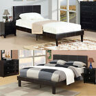 Modern Durable Espresso Faux Leather Wrapped Twin Full Queen Slats Platform Bed