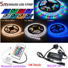 5M 300 LED Strip Light 3528/5050 SMD/RGB Ribbon Tape Roll Waterproof 12V UK