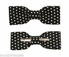 Skinny / Thin Black With White Dots Clip On Bow Tie Men / Boys