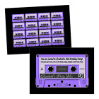 Personalised birthday party invitations AUDIO CASSETTE PURPLE TAPE FREE ENVELOPE