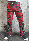 Punk Rock Retro Tartan Bondage Trousers Pants Jeans Zips Made In England