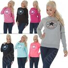 New Ladies Womens Converse Logo Print Sweatshirt Top Jumper Size S M L XL 8 14