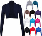 Womens New Ribbed Long Sleeve Ladies Fit Front Open Cardigan Bolero Shrug Top