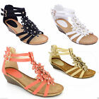 NEW LADIES SUMMER BEACH GLADIATOR STRAPPY LOW WEDGE MID HEEL SANDALS SHOES SIZES