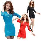 FASHION SEXY 2014 GK SLIM Occident SHORT Fit Long Sleeve V-Neck SIMPLE NEW Dress