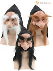 Dwarf Goblin Gnome Troll Hooded Mask Beard Hobbit Fancy Dress Costume Accessory
