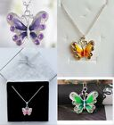 1Pc Beautiful Enamel Silver Plated Butterfly Crystal Pendant 7colour U Pick