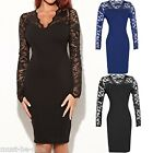 Sexy Womens Ladies Vintage Style V neck Lace Long Sleeve Bodycon Dress 10 14 16