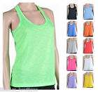 Women's Semi-Sheer Racer Back Henley Scoop Neck Sleeveless Slub Tank Tops- 14381
