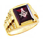 Freemason Red Garnet Square and Compass Gold Masonic Men's Ring Letter G Initial