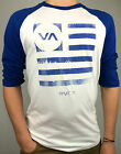 RVCA. Men's BLUE FLAG Long Sleeve BASEBALL CUT Poly T-Shirt. WHITE. S, M, L & XL