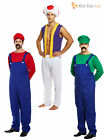 Adult Mens Super Mario Bros Mushroom Toad Plumber Workman 80s Game Fancy Dress