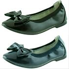 'Girls Black Leather Insole Toe Cap Ballerina School Shoes Size 10 11 12 13 1 2 3