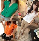 2014 Womens Short Sleeve Button Down T-Shirts Blouses Tops Shirts 4 Colors RSP