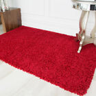 Modern Soft Opulent Red Wine Shag Pile Mat Cheap Small Large Fireplace Area Rugs