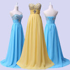 UK Sexy Strapless Chiffon Formal Bridesmaid Party Gown Prom Ball Evening Dresses