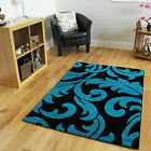 High Quality Teal Blue Soft Leaf Design Rugs Luxury Cheap Floral Motif Area Rugs